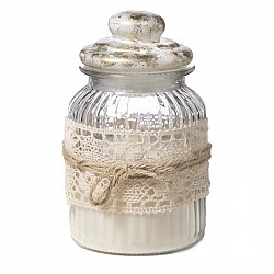 CANDELA 600 GR IN BARATTOLO D. 11 H. 22 CM WEDDING MARBLE OR